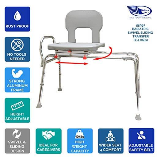 Eagle Sliding Transfer Bench: Eagle Health Supplies® Bariatric Sliding Transfer Bench