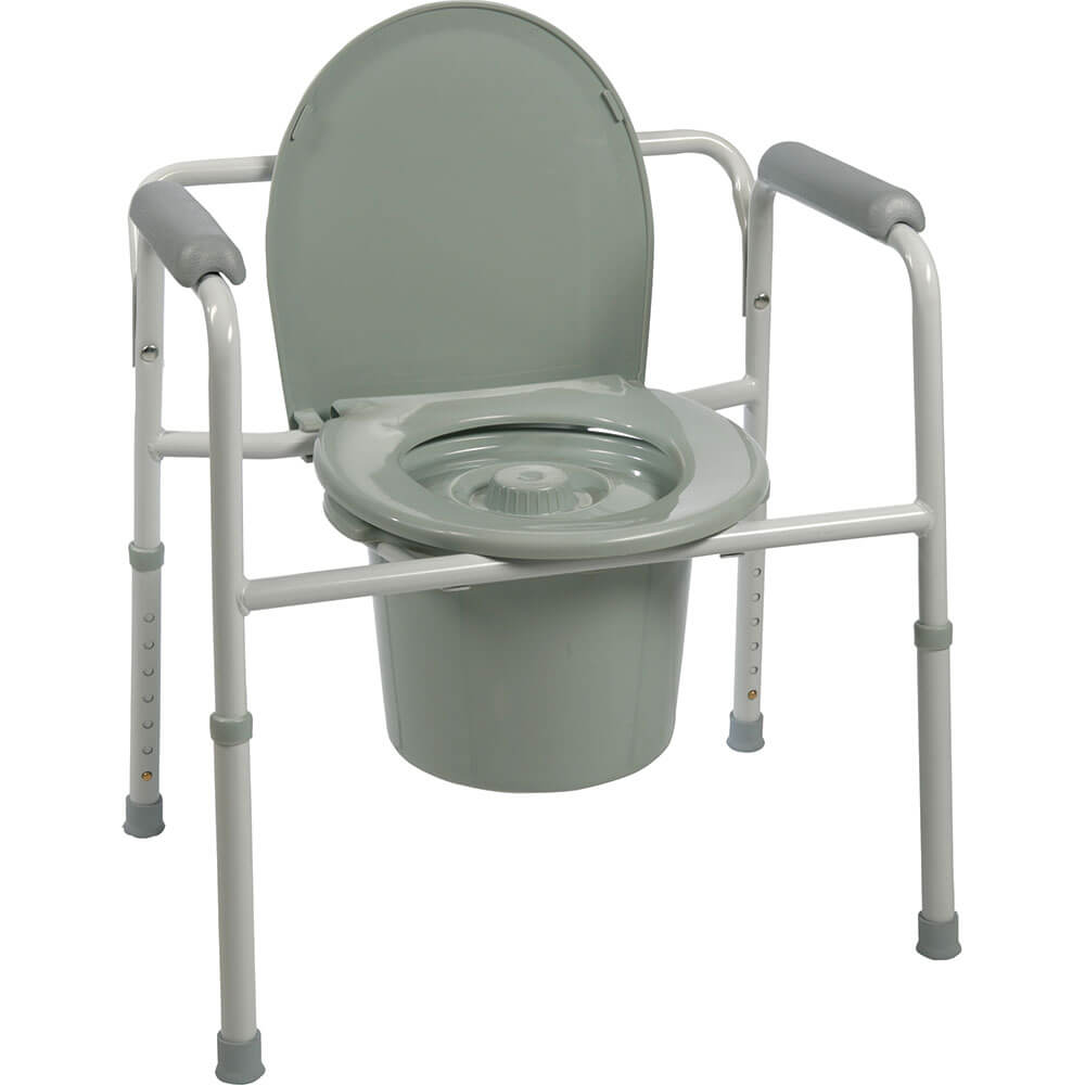 ProBasics Three-in-One Steel Commode with Plastic Armrests – Bisco ...